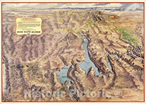 Historic Map - Panoramic Perspective of The Area Adjacent to Hoover Dam and Lake Mead Recreational Area 1961 - Vintage Wall Art - 62in x 44in