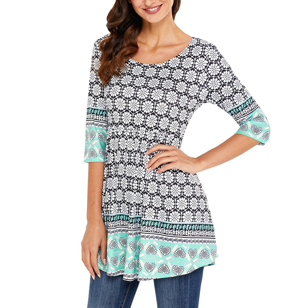 RedLife Women's Casual Tunic Blouses Floral Print Pleated Long Fit Tee Shirt Tops with 3/4 Sleeves (Large, Green)