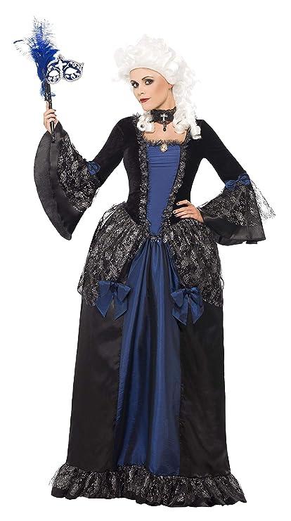 Smiffys Smiffys-25438L Disfraz de Baile de máscaras Barroco y con Vestido y Sobrefalda, Color Negro, L - EU Tamaño 44-46 25438L