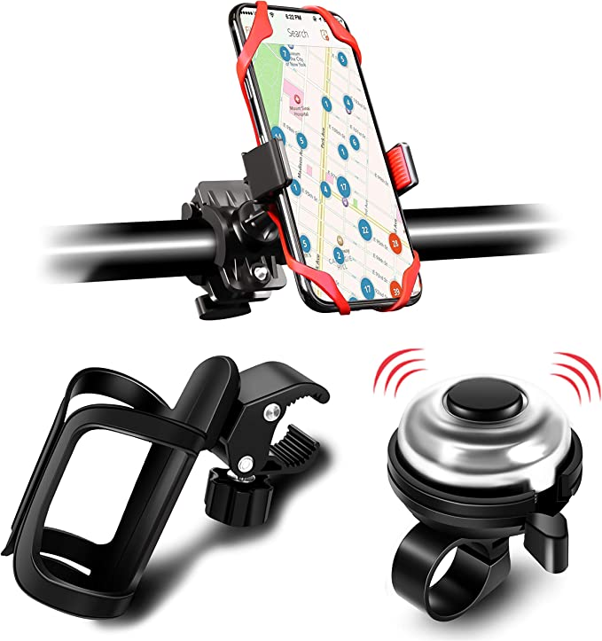 Black Alloy Aluminum Lightweight Bike Cup Holder and Bike Phone Holder 1 Bike Water Bottle Holder with 1 Pack Silicone Bike Phone Mount and 1 Bike Bell EAONE Bike Accessories