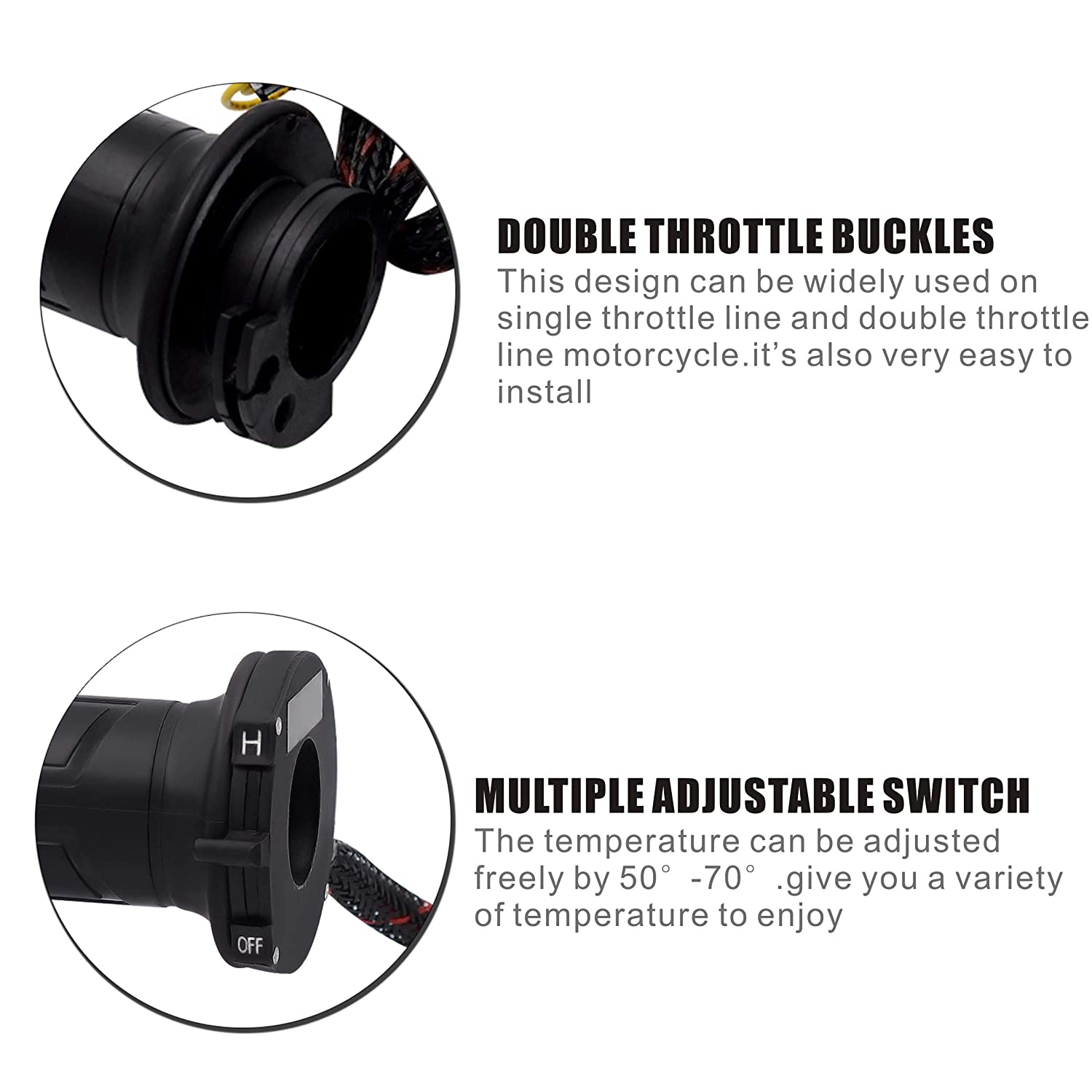 Motorcycle Electric Heated Grips Handle 7//8inch 22-23mm Handlebar Warmer Heater for 12V Motorcycle ATV