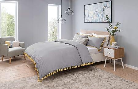 Sleepdown Tassels Grey with Mustard Bedding Set Borlas Gris con Mostaza Juego de Ropa de Cama King y Fundas de Almohada, Mezcla de algodón, Matrimonio: Amazon.es: Hogar