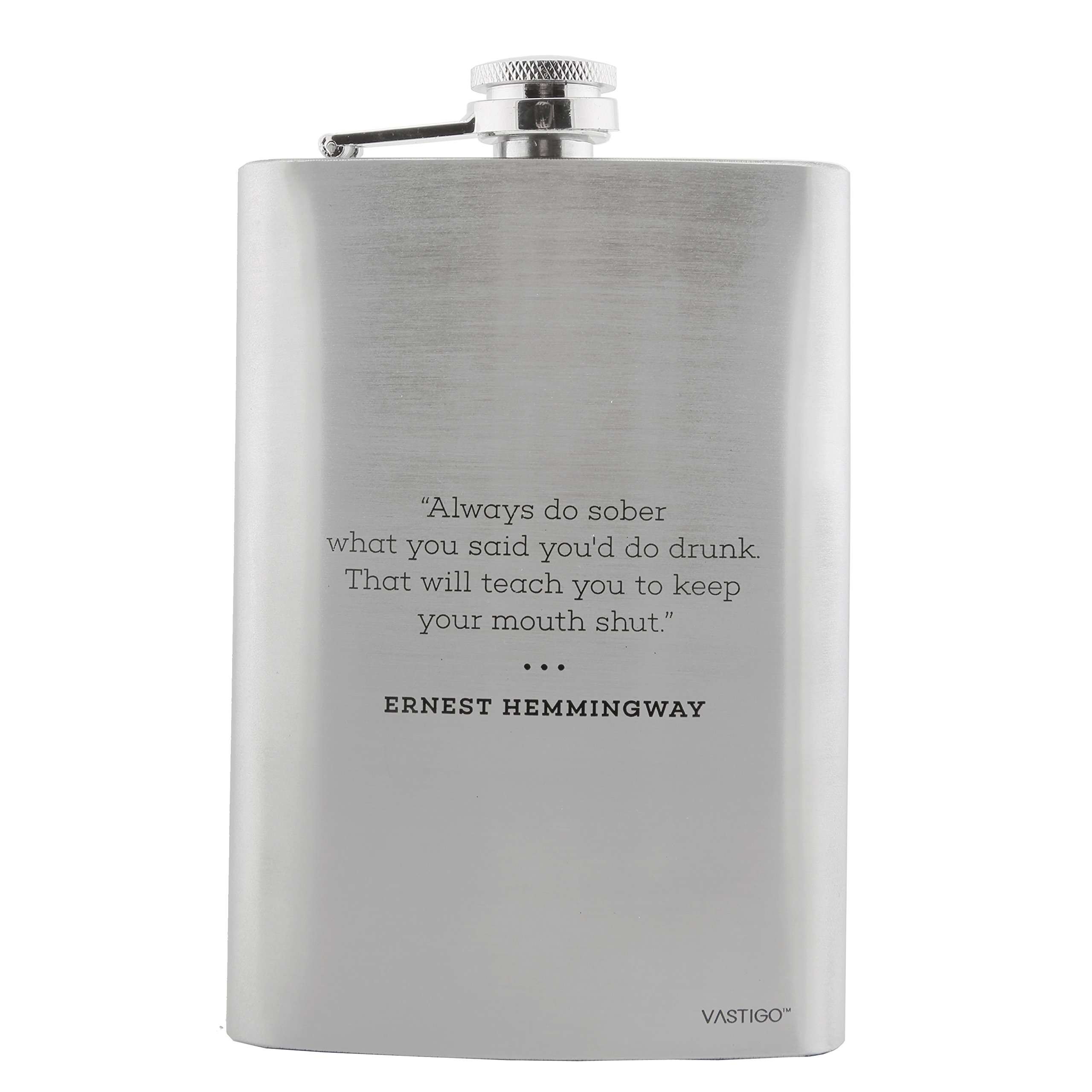 Vastigo Stainless Steel 8 oz Flask for Men w/Ernest Hemingway Quote also included Free Funnel and Gift Box – Stainless