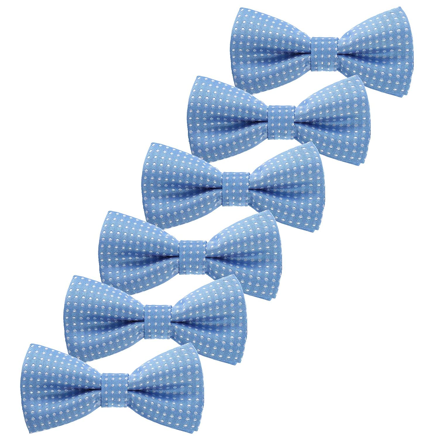 Boys Children Formal Bow Ties - 6 Pack of Solid Color Adjustable Pre Tied Bowties for Wedding Party