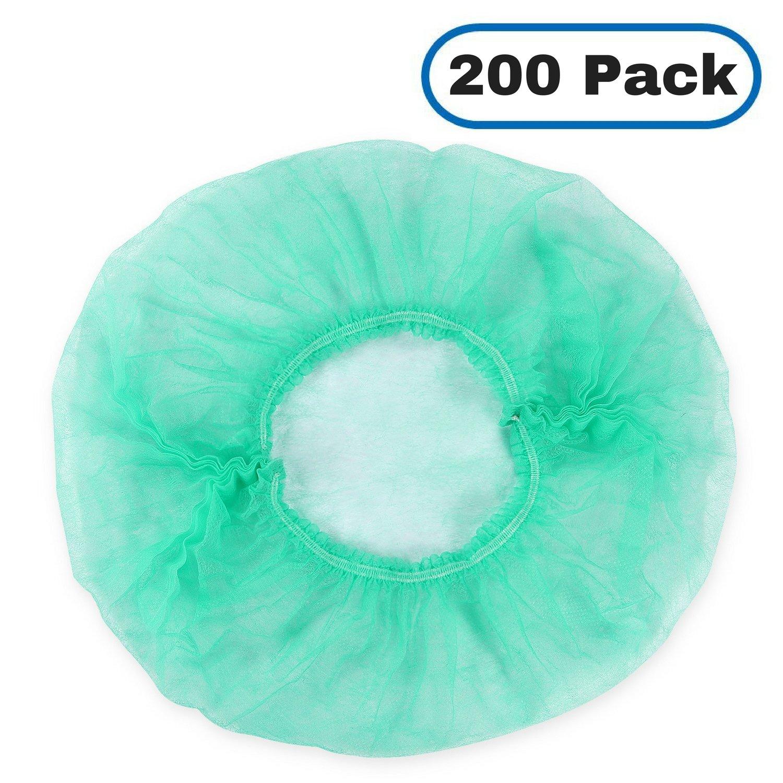 MIFFLIN Hairnets (Green, 200 Pack) for Hair Cover, Disposable Bouffant Hairnet Caps for Restaurant, Lab, Hair Net for Non Medical Use