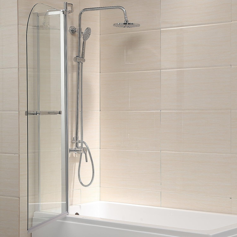 Clear glass 55 inch x39 inch pivot radius framed 14 inch bath tub ...