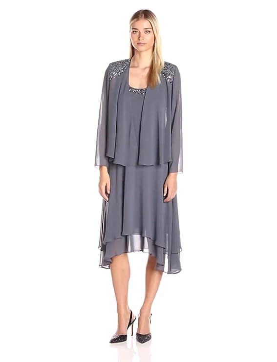 1920s Day Dresses, Tea Dresses, Mature Dresses with Sleeves S.L. Fashions Womens Embellished-Shoulder and Neck Jacket Dress $98.00 AT vintagedancer.com