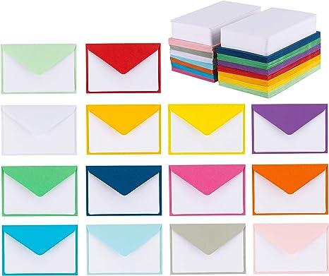 Amazon.com: 140 mini sobres con tarjetas blancas en blanco ...