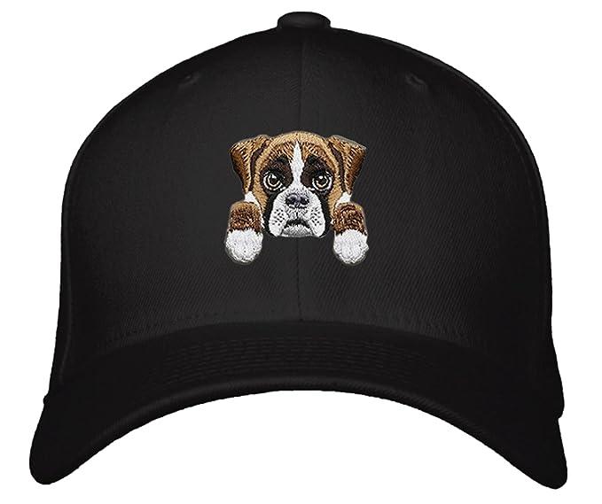 0923bfe451e Amazon.com  Boxer Dog Hat Cute Puppy Adjustable Cap (Black)  Clothing
