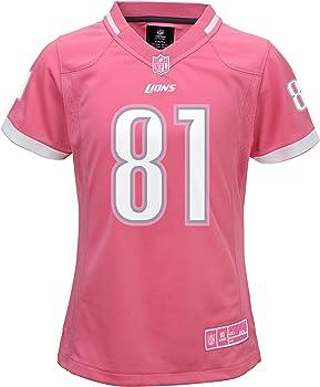 Calvin Johnson Detroit Lions #81 Bubble Gum Pink Youth Girls Jersey