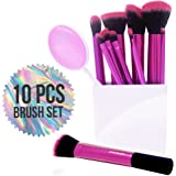 Vivace Makeup Brushes - 10 Synthetic Bristle Kabuki Cosmetic Brush Set - Professional Pink Korean Kit Great for Travel