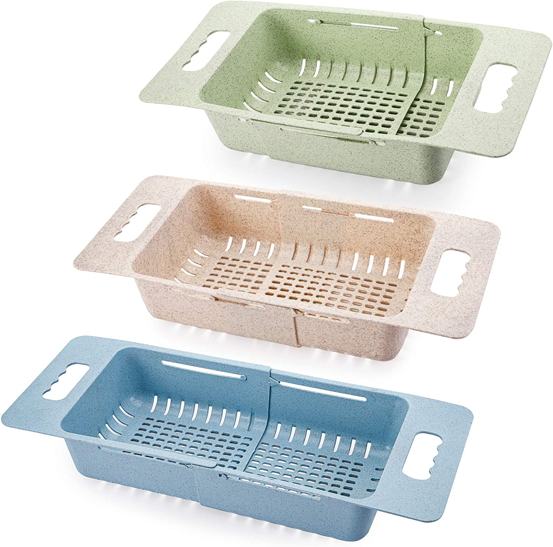 TOPZEA 3Pcs Collapsible Colander, Fruit and Vegetable Colander Strainer with Handles Adjustable Drain Basket Over the Sink Folding Food Strainer for Drain Pasta, Beige, Blue, Green