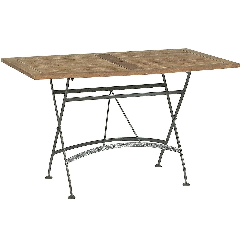 4Seasons Outdoor Darwin Tisch 120 x 70 cm faltbar Teakholz mit Eisengestell