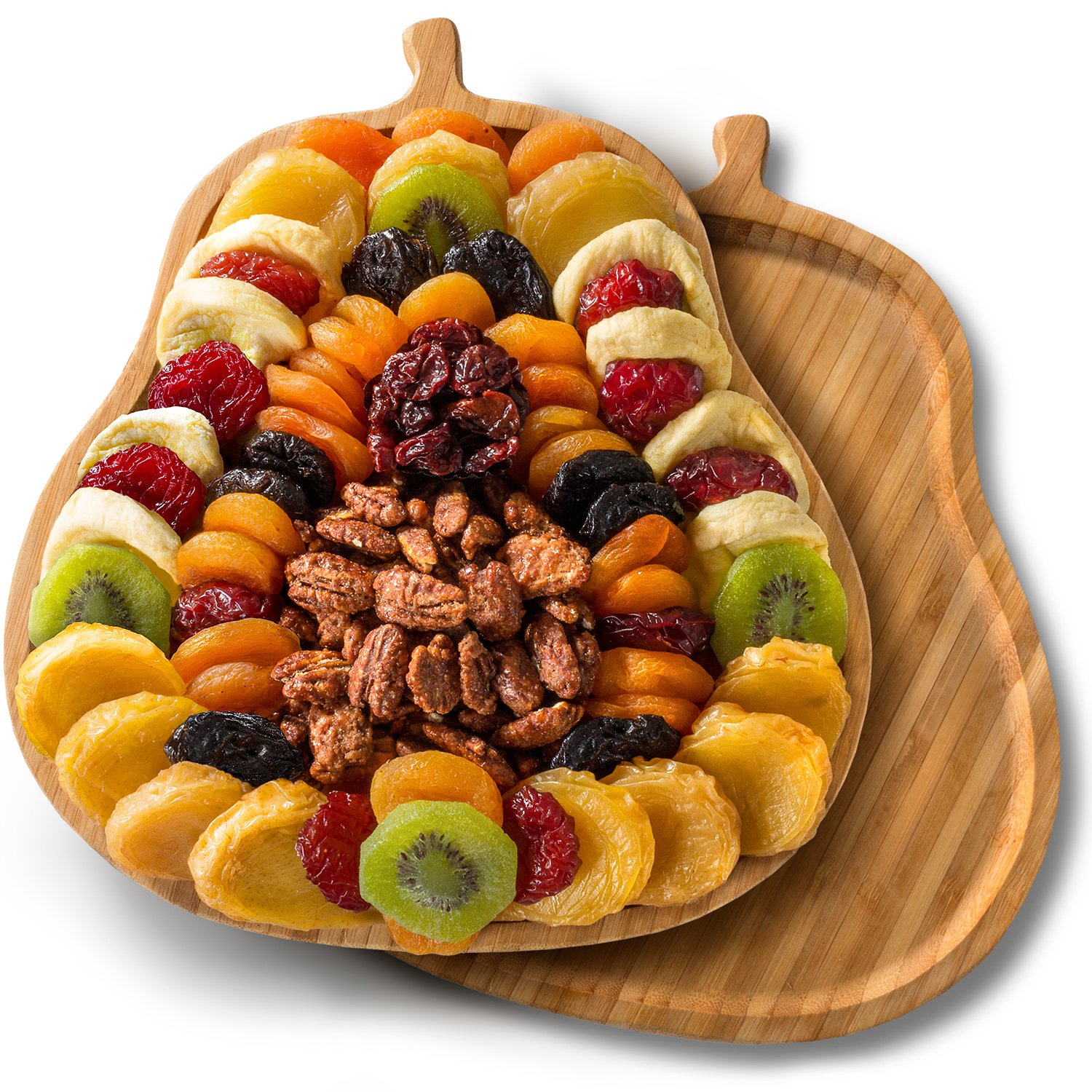 Golden State Fruit Dried Fruit Tray with Nuts on Pear Shaped Bamboo Cutting Board by Golden State Fruit