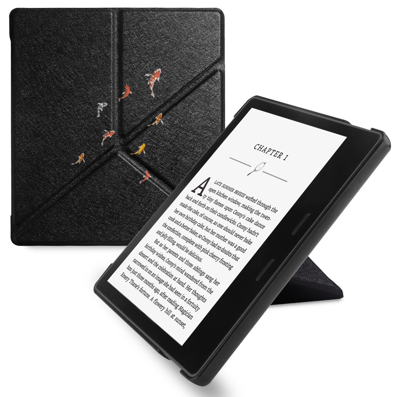 WALNEW Amazon Kindle Oasis Stand Case Cover Kindle Oasis Origami Case-Ultra Lightweight PU Leather Smart Cover for 7 Inch Kindle Oasis 2017, 9th Generation (Carp)