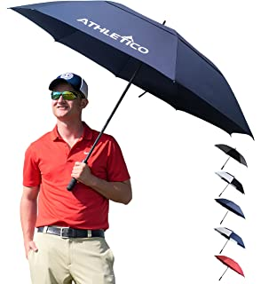 Athletico 62/68 Inch Automatic Open Golf Umbrella - Extra Large Double Canopy Umbrella is