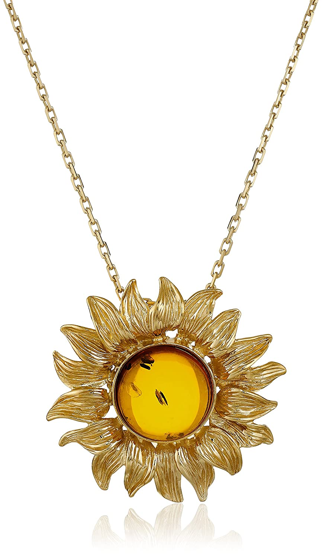 Amazon rhodium plated sterling silver honey amber sunflower amazon rhodium plated sterling silver honey amber sunflower pendant necklace jewelry aloadofball Gallery
