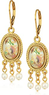 product image for 1928 Jewelry Womens Gold Tone Oval Flower Decal Pearl Drop Earrings, Multi, 2