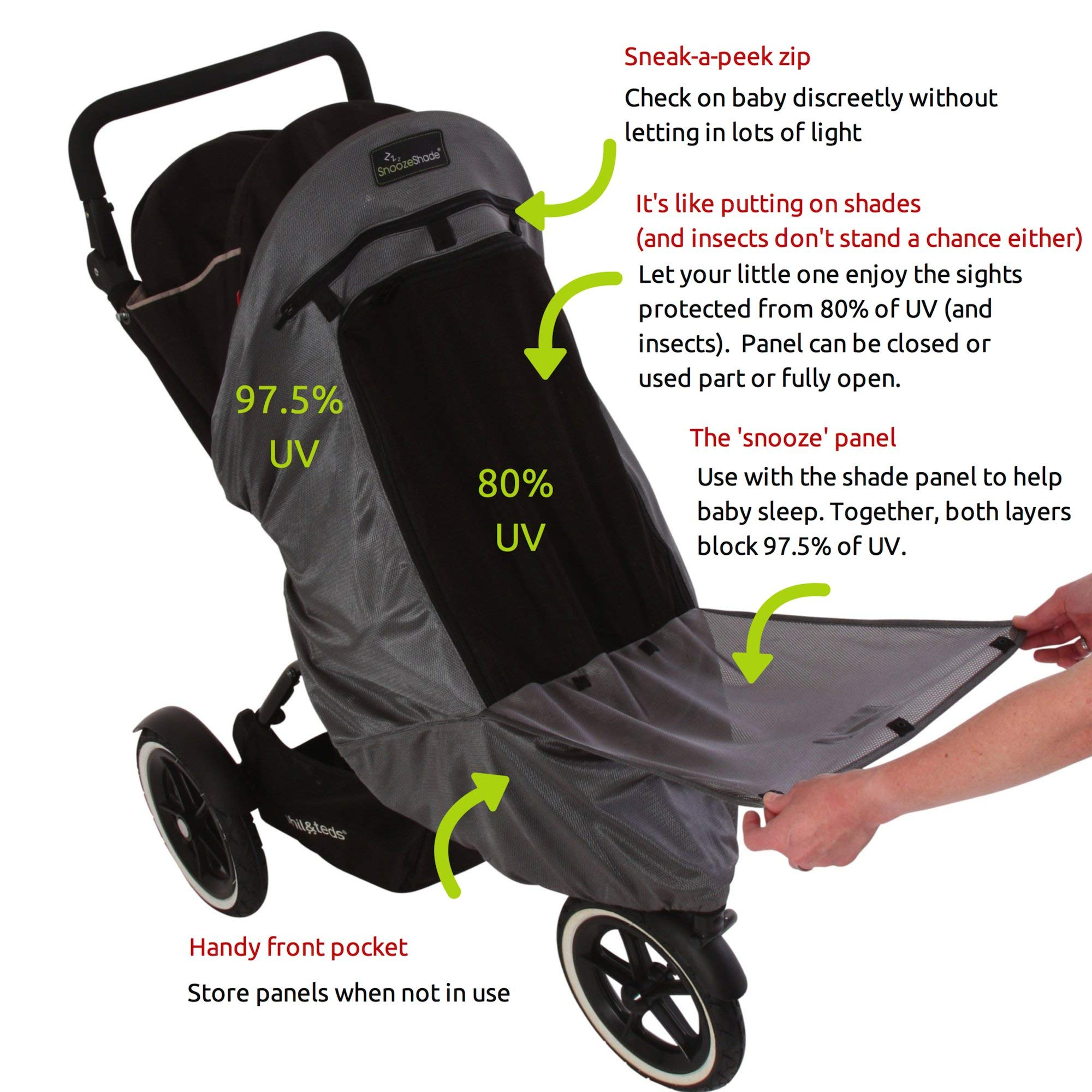 SnoozeShade Plus Deluxe | Universal fit sun shade for strollers | 360-degree sun and UV protection | Sleep shade and mosquito net | Recommended for 6m+ by SnoozeShade (Image #2)
