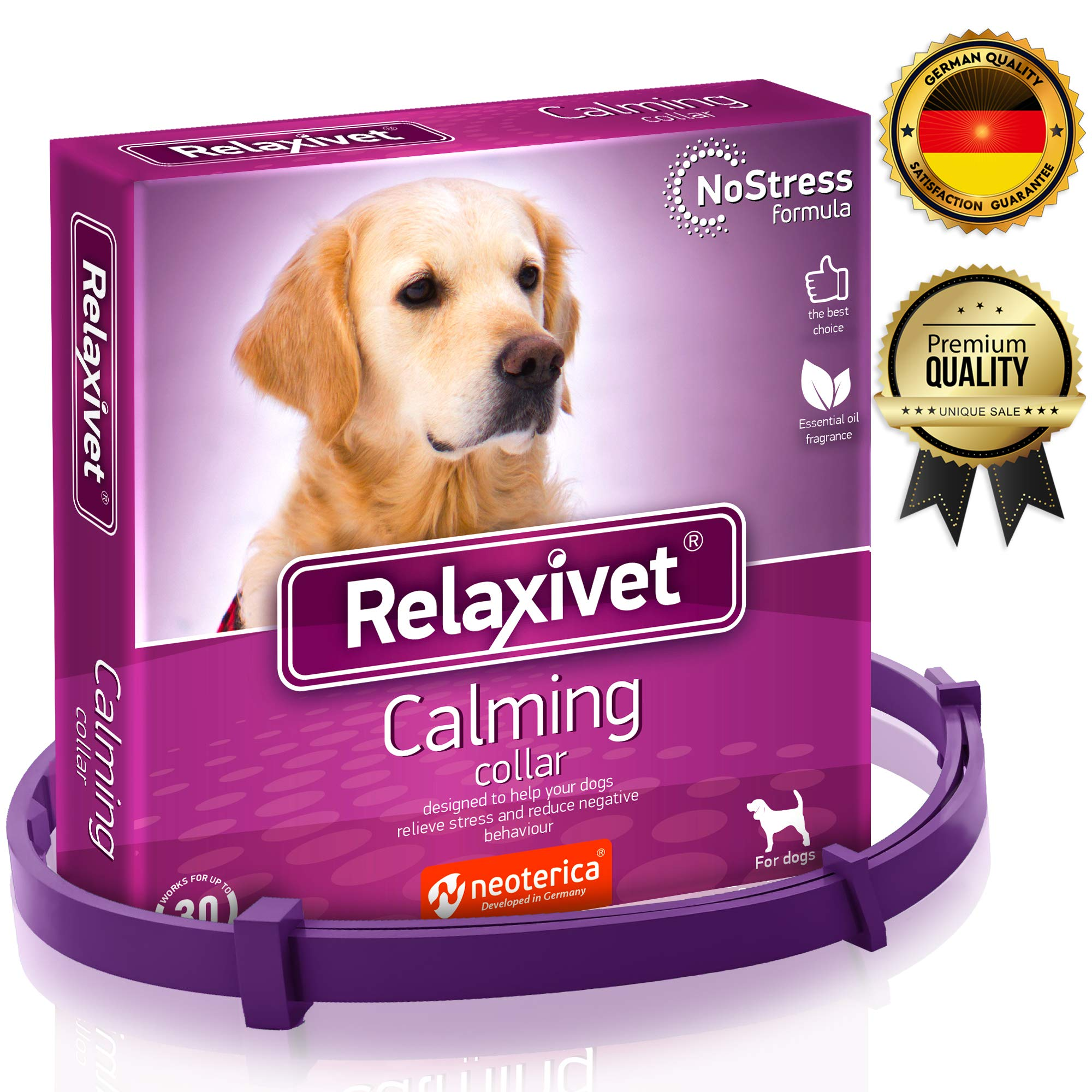 Adjustable Calming Collar for Dogs with Appeasing Effect - Dog Anxiety Relief - Anti-Anxiety Collar with Long-Lasting Calming Effect for All Sizes Dogs (26 inches) by Relaxivet