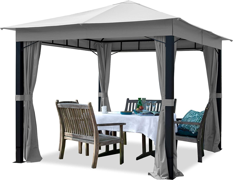 TOOLPORT Cenador de jardín 3x3m ALU Premium 280g/m² Lona de Techo Cenador Impermeable 4 Lados cenador de jardín Gris Claro 9x9cm Perfil: Amazon.es: Jardín
