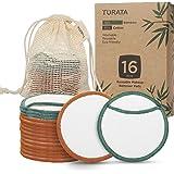Wasbare Herbruikbare Wattenschijfjes, TURATA 16 Stuks Makeup Pads Natuurlijke Biologische Bamboe Katoenen Doekjes voor Gezichtsreiniging Huidverzorging Eco-vriendelijke Make-up Cotton met een Waszak