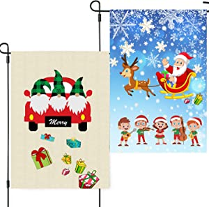 Merry Christmas Garden Flag 12 x 18 Double Sided Burlap Santa Claus Decoration Outdoor House Yard Lawn Flags 2 PCS