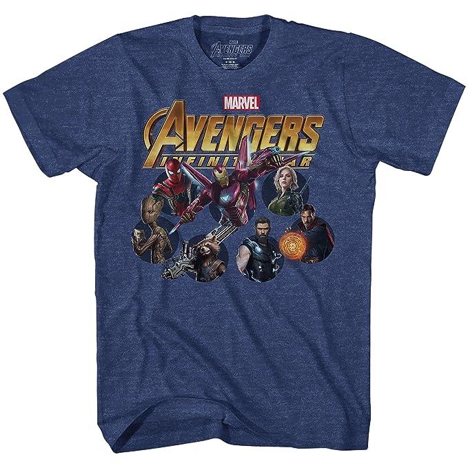 Marvel Avengers Infinty War Team Circles Mens Graphic T-Shirt (Medium,  Heather Navy