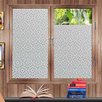 Bofeifs Non Adhesive Flowers Decorative Privacy Window Film Static Cling  Film Etched Glass Window Film