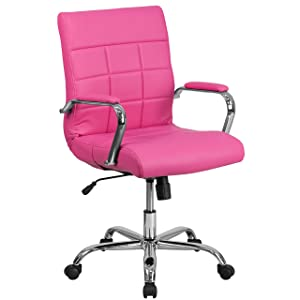 Flash Furniture Mid-Back Pink Vinyl Executive Swivel Office Chair with Chrome Base and Arms