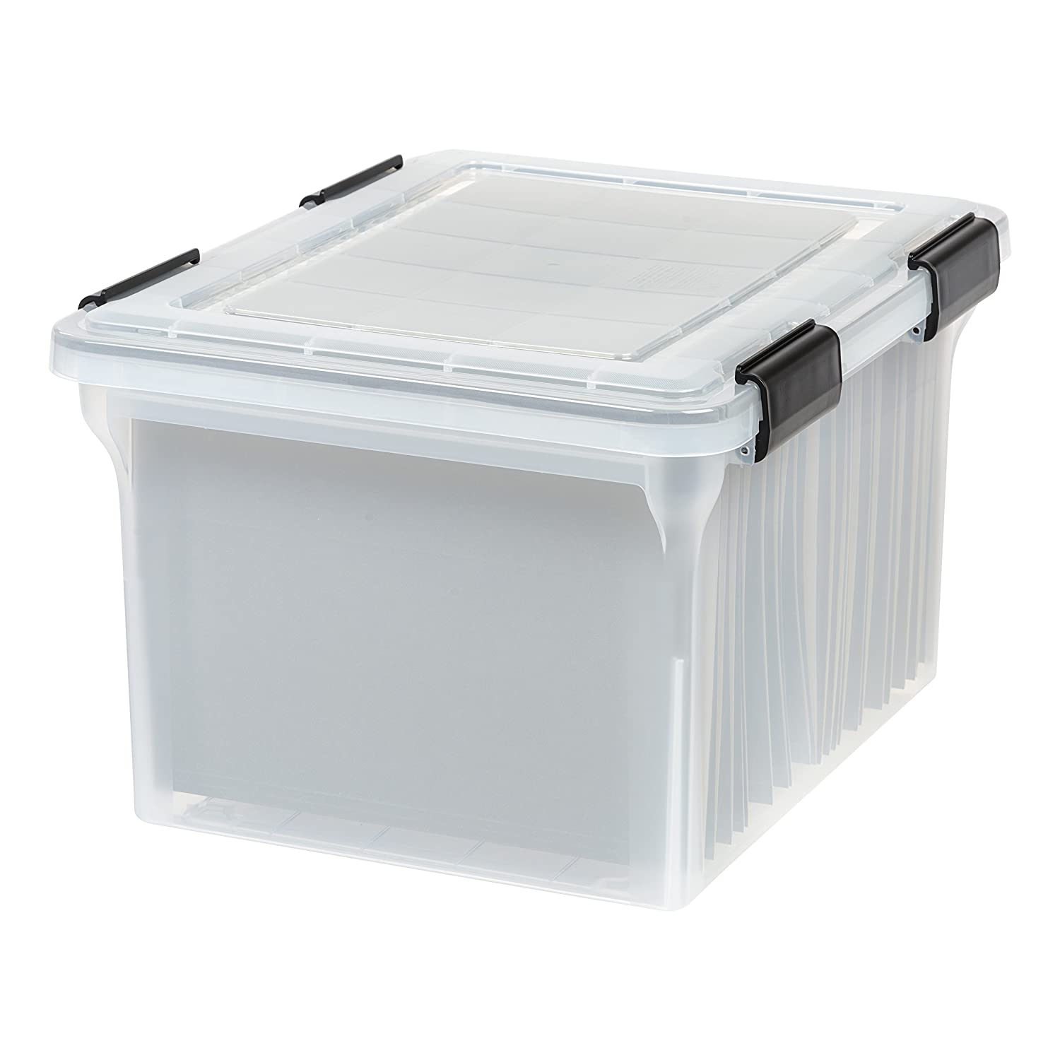 IRIS USA, Inc. UCB-FB WEATHERTIGHT Letter and Legal Size File Box, 32 Quart, Clear