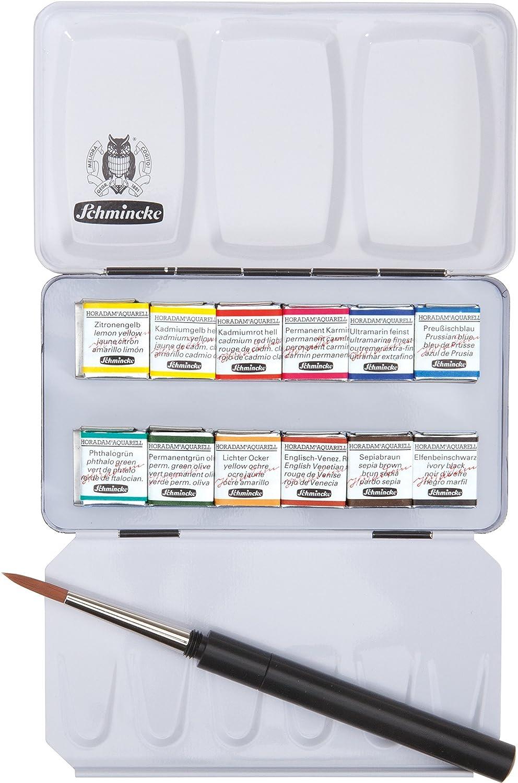Schmincke Horadam Aquarell Half-Pan Paint Metal Compact Set with Brush, Set of 12 Colors (74012097) Cell Distributors