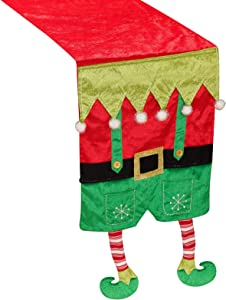 ALLYORS Christmas Elf Table Runner with Plush Candy Stripe Legs for Indoor/Outdoor Xmas Dining Decoration, Soft Santa Elves Dinner Tablecloth Cover Décor for Themed Holiday Home Kitchen Dinner Party