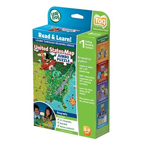 Amazon Com Leapfrog Leapreader Interactive United States Map Puzzle Works With Tag Toys Games