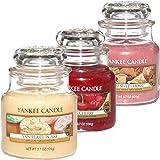Yankee Candle Groß 3er Set Vanilla Cupcake Fluffy Towels Black Cherry Duftkerze