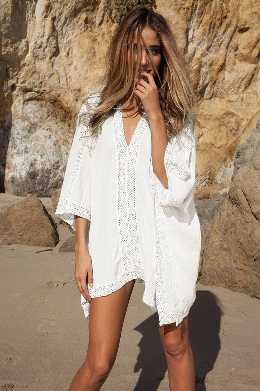 JFAN Copricostume Mare Donna Pizzo Copribikini Vestiti Bianco Abito da Spiaggia Mini Abito Vestito Beachwear