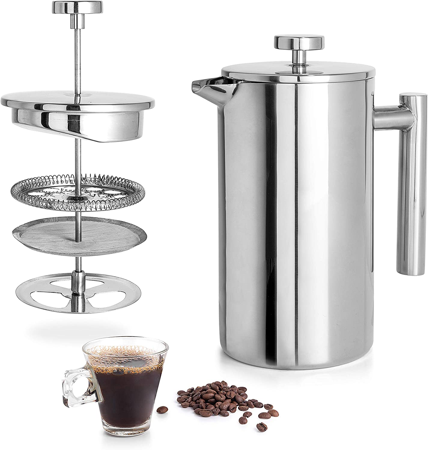 34OZ Bonus Stainless Steel Screen and Coffee Powder Spoon French Press Coffee Maker Double-Wall 18//8 Stainless Steel Coffee and Tea Maker