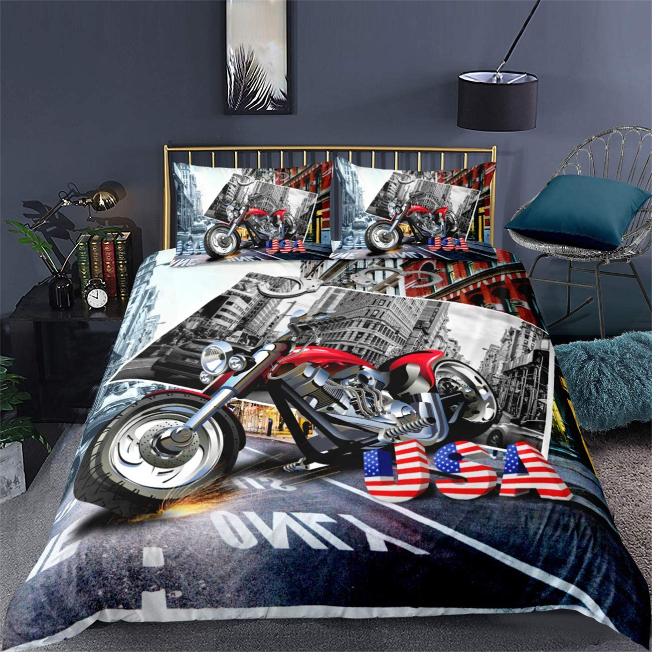 AMTAN 3D Duvet Cover Dirt Bike Motocross Racing Bed Set 3pcs 100/% Superfine/ Fiber Bedding Set Great Gift for Kids Boys Teens 1 Duvet Cover 2 Pillowcase Twin Full Queen King Size
