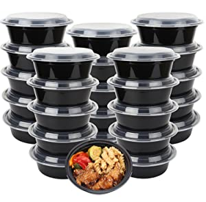 50-Pack meal prep Plastic Microwavable Food Containers for meal prepping bowls with Lids (28 oz.) Black Reusable Storage Lunch Boxes -BPA-Free Food Grade -Freezer & Dishwasher Safe. - HIGH QUALITY