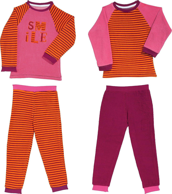 Ringel//Streifen Mädchen Frottee Pyjama langarm mit Bündchen 291 401 93 200
