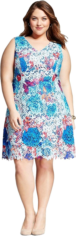 Spenser Jeremy Womens Plus Size Sleeveless Floral Print Shift Dress