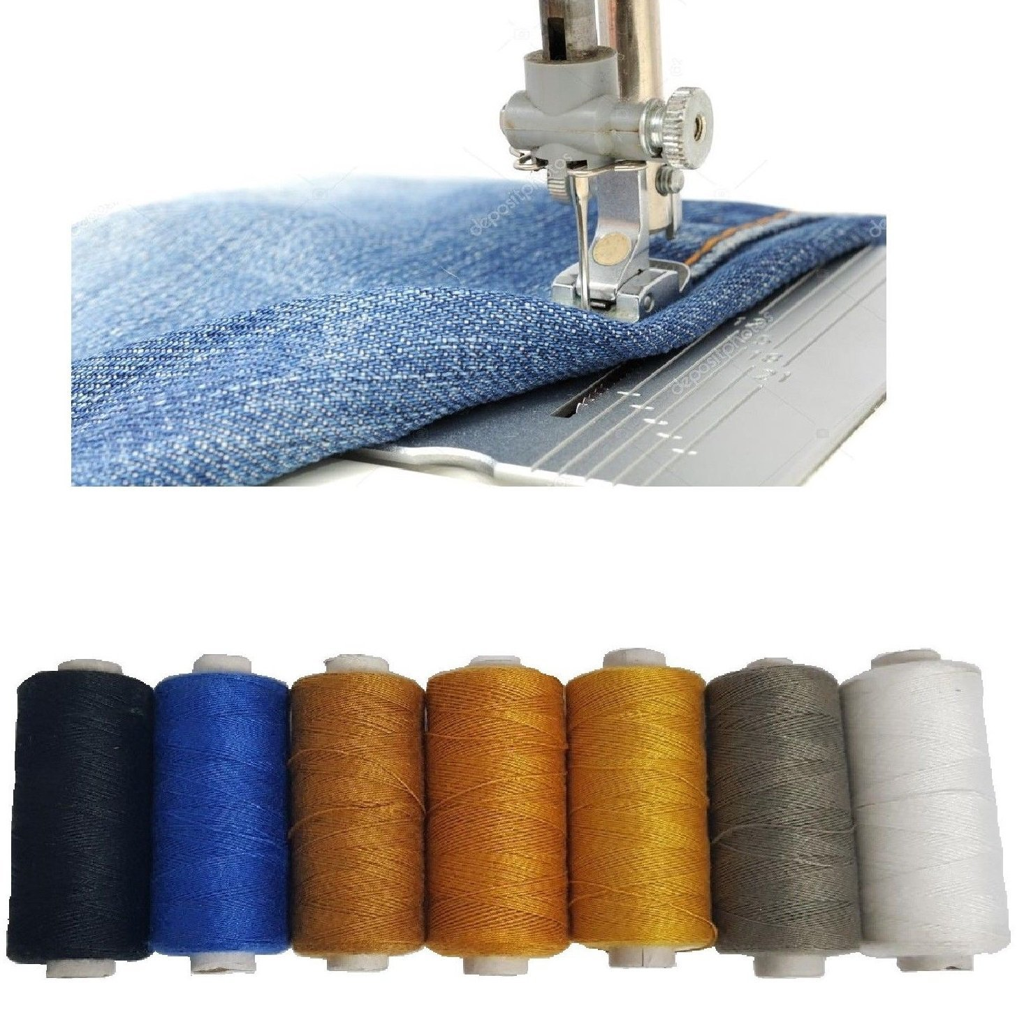 7 Pack Denim Threads Polyester Cotton Spools Sewing Strong Stitch Button Jeans Repair