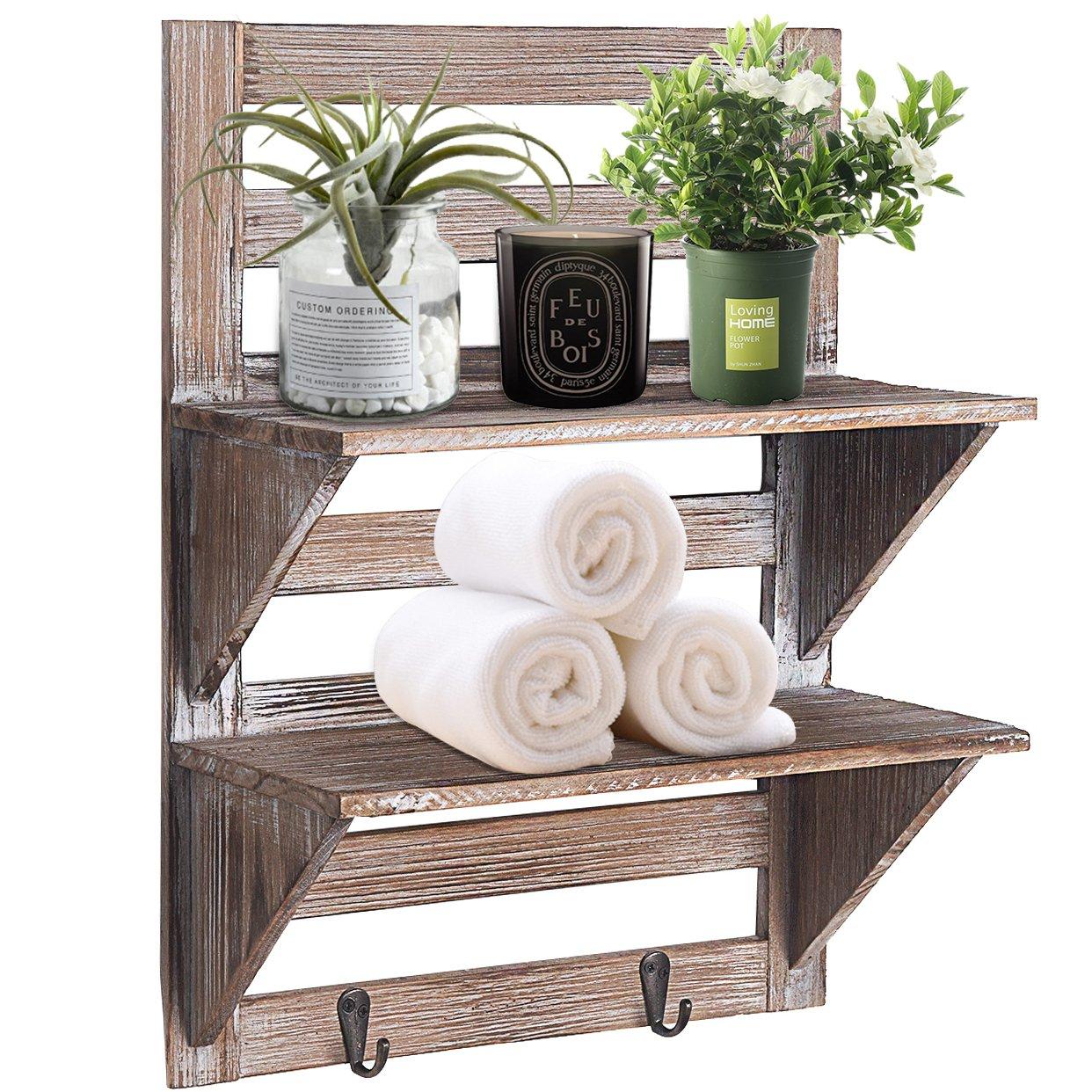 RHF Rustic Farmhouse Decor, Bathroom Shelves of Real Wood, Pallet Shelf, Wood Storage Shelving Rack-2 Tier, Bathroom Shelf & Bathroom Decor, Wall Mounted Wood Rack with 2 Hooks, Nails Included Rose Home Fashion