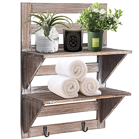 RHF Rustic Farmhouse Decor Bathroom Shelves Pallet Shelf Wood Storage Shelving Rack