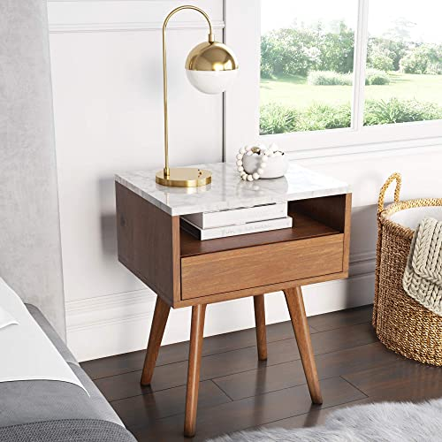 Nathan James James Mid-Century Rectangle Accent Side or End Table Walnut Finish Wood and Faux Marble Top