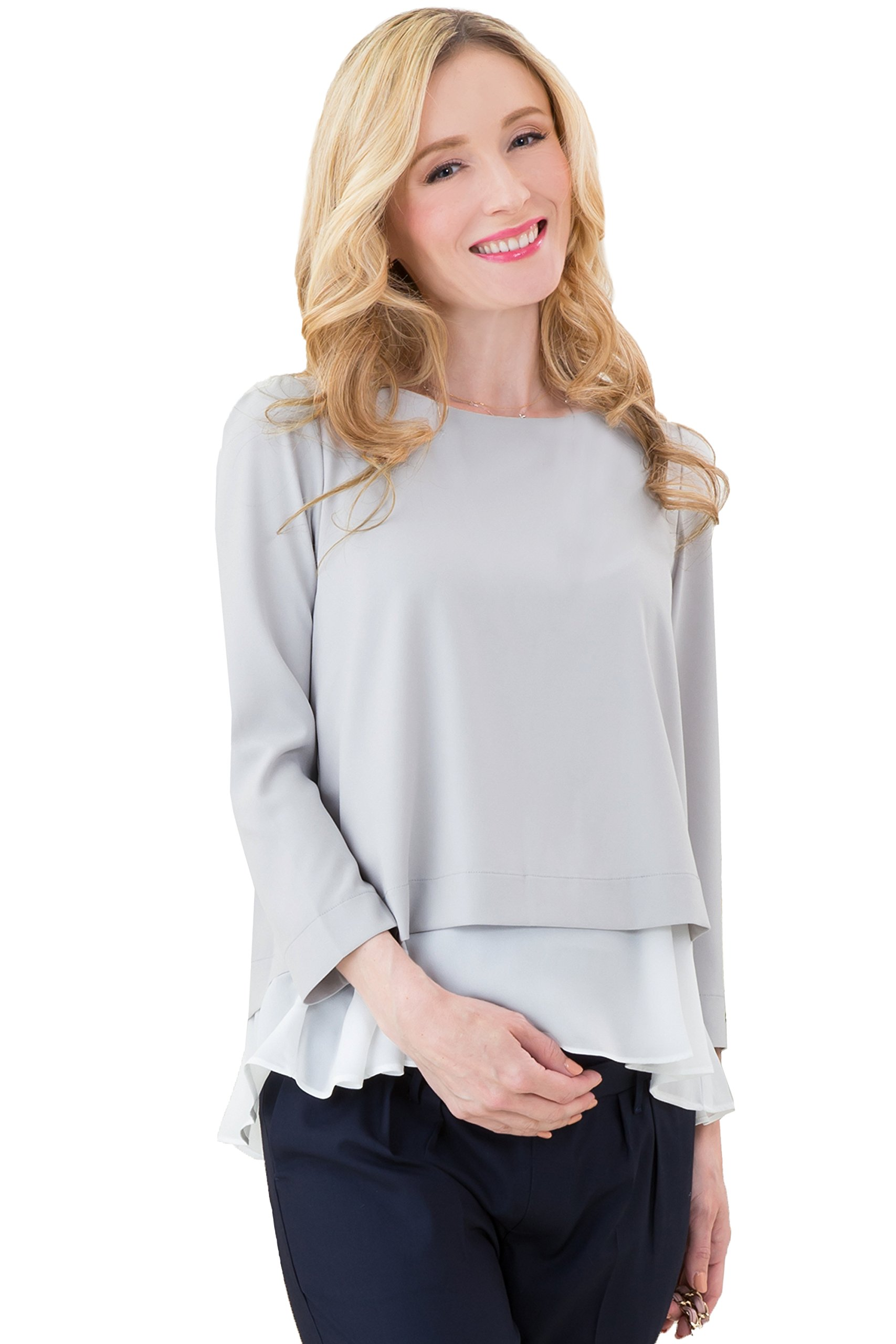 Sweet Mommy Maternity and Nursing Layered Georgette Top Blouse with Chiffon Hem GrayWhite L
