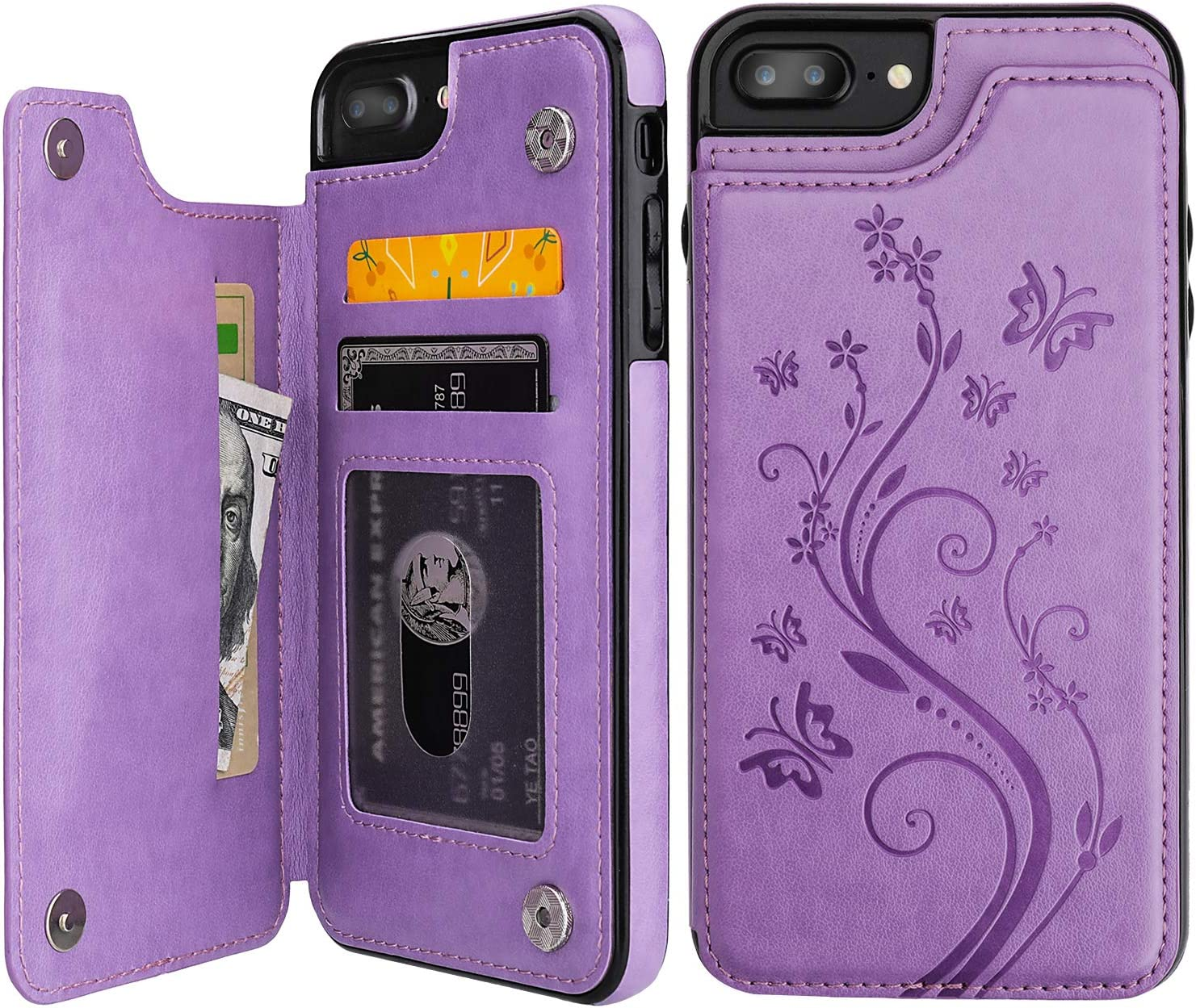 Vaburs iPhone 7 Plus iPhone 8 Plus Case Wallet with Card Holder, Embossed Butterfly Premium PU Leather Double Magnetic Buttons Flip Shockproof Cover for iPhone 7/8 Plus Case (Purple)