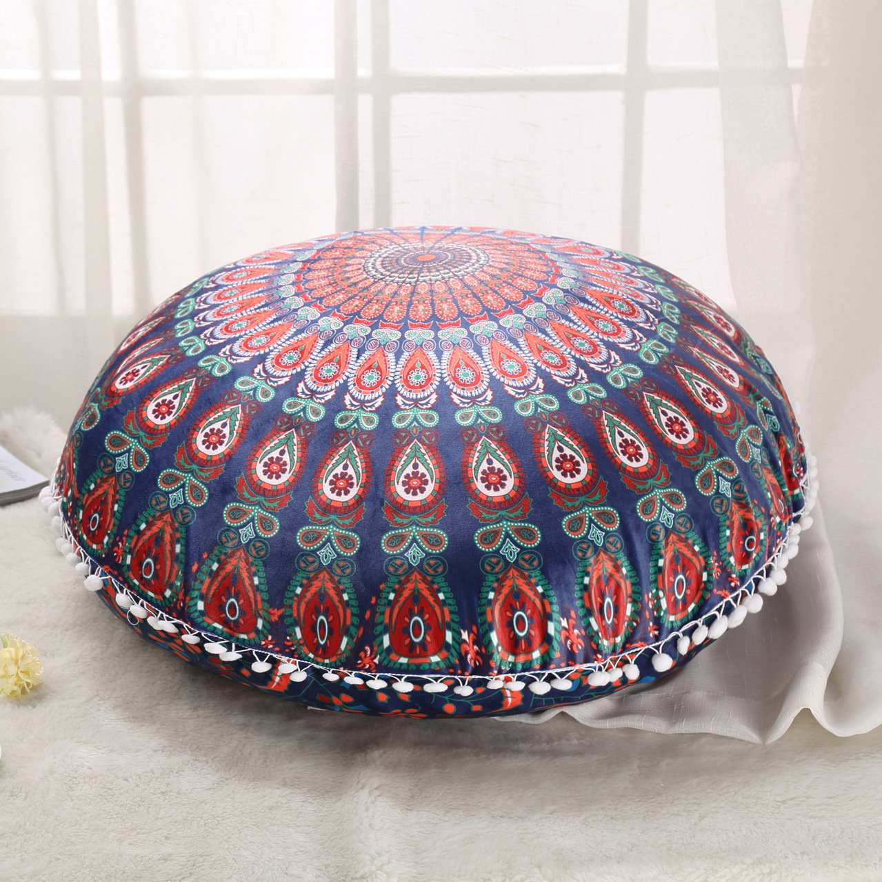 Sleepwish Large 30'' Round Pillow Cover Boho Mandala Floor Cushion Zen Meditation Pillow Case Outdoor Pom Pom Pillow Sham (Red Green)