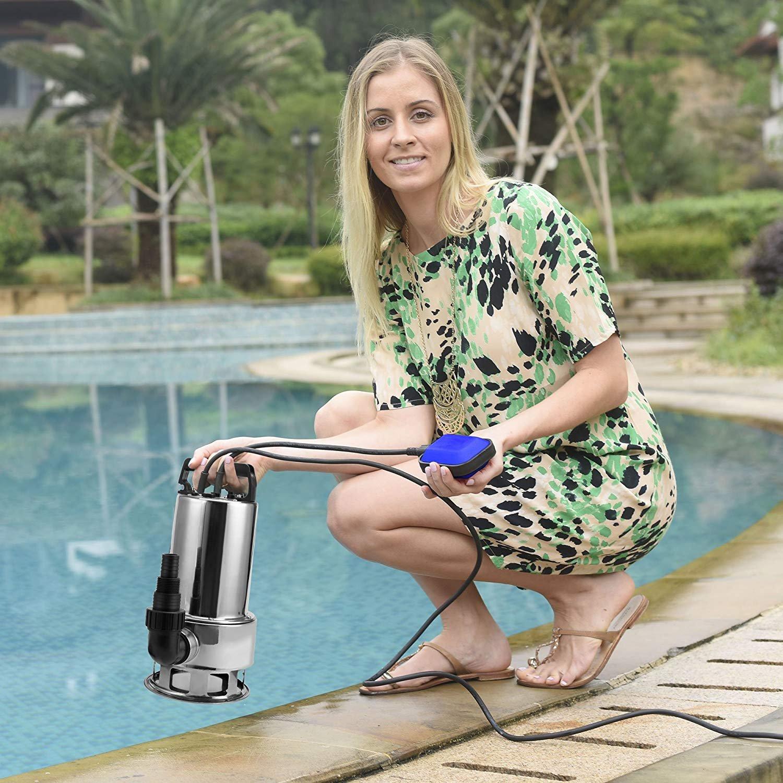 1.5 HP Stainless Steel Submersible Sump Pump, Dirty Clean Pools Ponds Irrigation Sprinkling Water Pump(US Stock) (1. 5HP)
