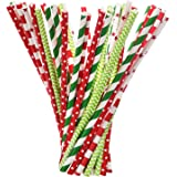 Shappy Paper Straws Decorative Drinking Straws for New Year, 125 Pieces, Multi Patterns, Green and Red